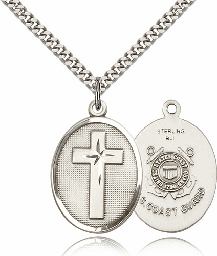 US Coast Guard Silver-filled Christain Military Cross Necklace by Bliss