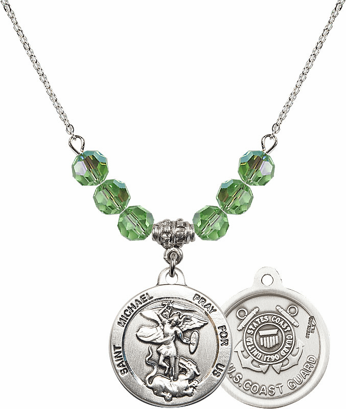 US Coast Guard St Michael Round Medal 6mm Beaded Necklace by Bliss Mfg