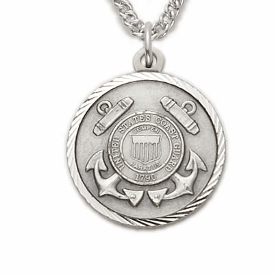 US Coast Guard Women's Sterling Medal w/Christian Cross Necklace by Singer