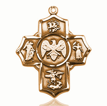 US National Guard 5-Way Military 14Kt Gold  Cross Medal Pendant by Bliss