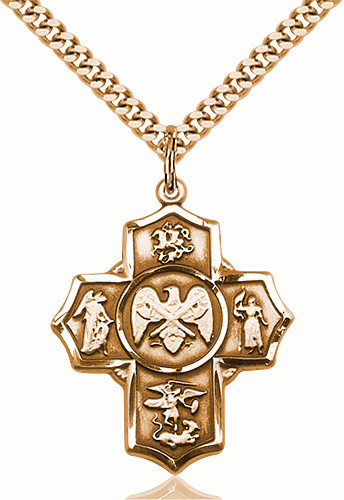 US National Guard 5-Way Military Gold-Filled Cross Medal Necklace by Bliss