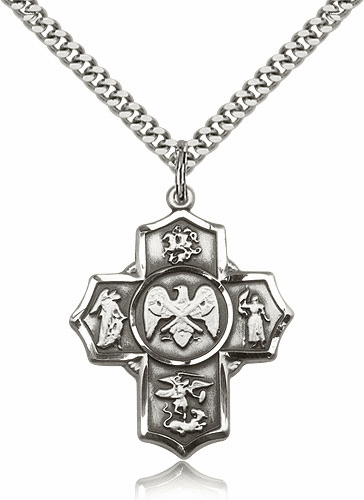 US National Guard 5-Way Military Sterling-Filled Cross Medal Necklace by Bliss