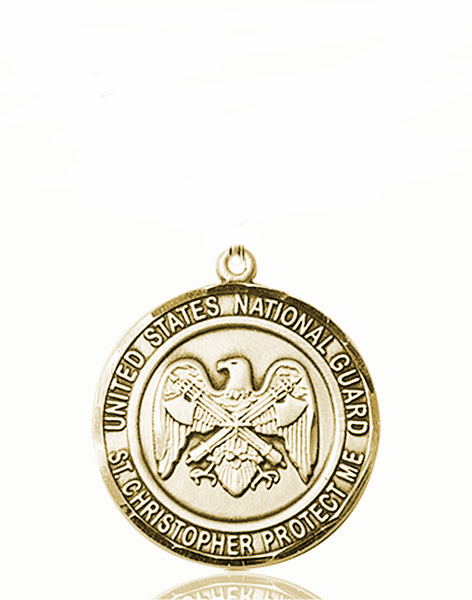 US National Guard Military St Christopher 14kt Gold Engravable Medal Pendant by Bliss