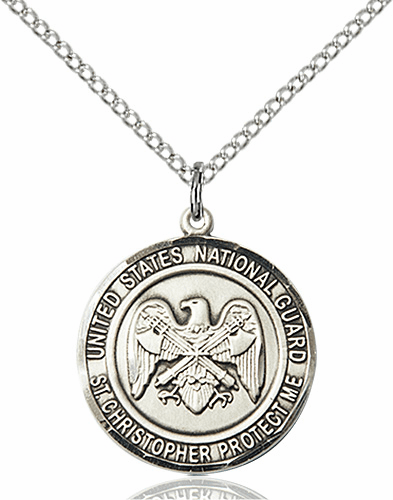 US National Guard Military St Christopher Sterling Silver Engravable Medal Necklace by Bliss