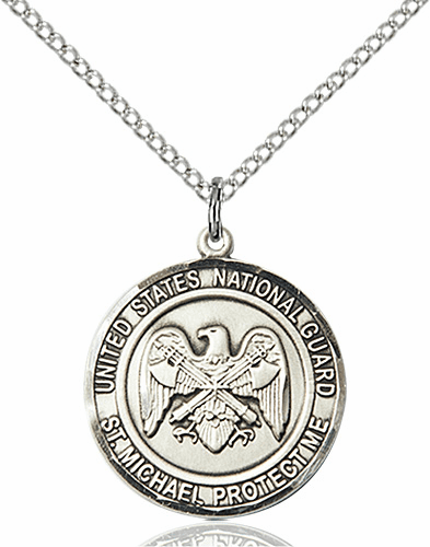 US National Guard Patron Saint Michael Sterling Engravable Medal Necklace by Bliss