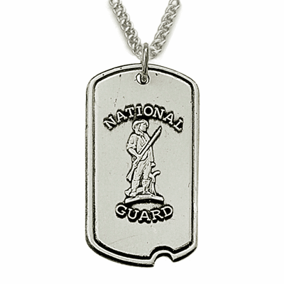 US National Guard St Michael Medal Dog Tag Necklace by Singer