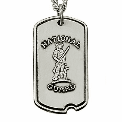 US National Guard St Michael Medal Dog Tag Necklace w/Cross by Singer
