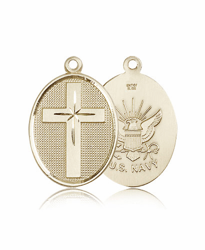US Navy 14kt Gold Christian Cross Pendant by Bliss