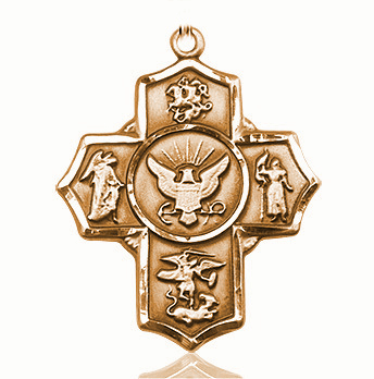 US Navy 5-Way Military 14Kt Gold  Cross Medal Pendant by Bliss