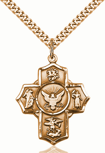 US Navy 5-Way Military Gold-Filled Cross Medal Necklace by Bliss