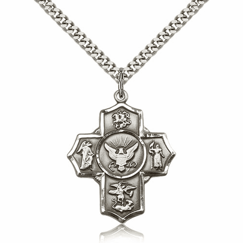 US Navy 5-Way Military Sterling-Filled Cross Medal Necklace by Bliss