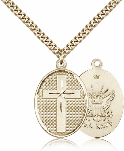 US Navy Christian Cross 14kt Gold-Filled Necklace by Bliss Mfg