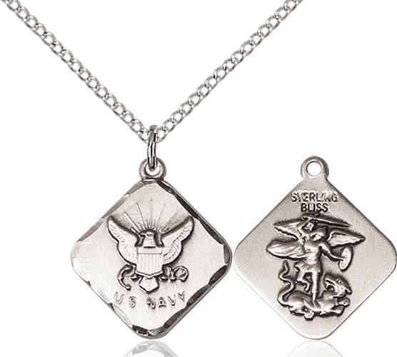 US Navy Diamond Shaped Sterling Silver St Michael Necklace By Bliss