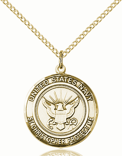 US Navy Military St Christopher 14kt Gold-filled Medal Engravable Necklace by Bliss