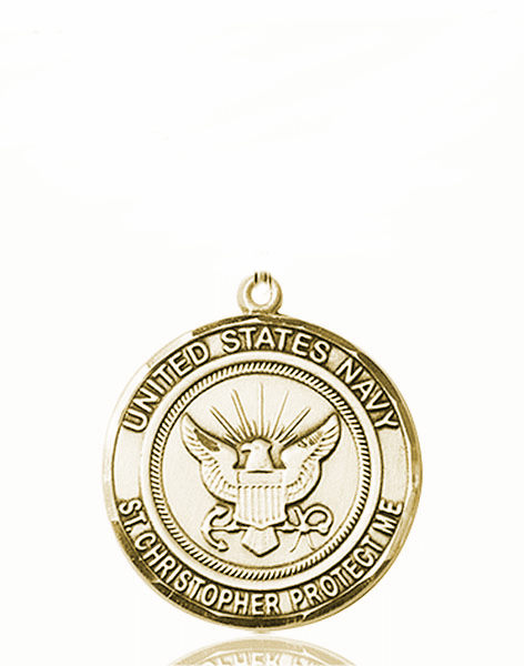 US Navy Military St Christopher 14kt Gold Medal Engravable Pendant by Bliss