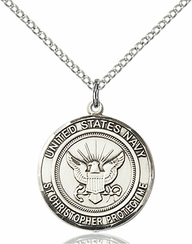 US Navy Military St Christopher Silver-filled Medal Engravable Necklace by Bliss