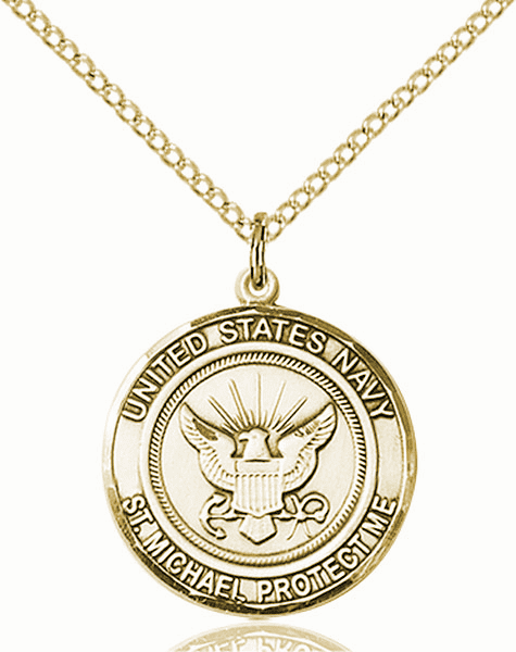 US Navy Patron Saint Michael 14kt Gold-filled Engravable Medal Necklace by Bliss