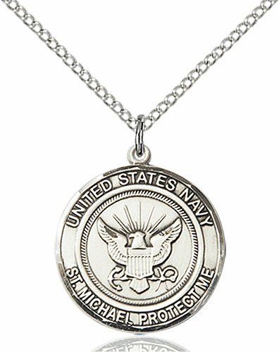 US Navy Patron Saint Michael Pewter Engravable Medal Necklace by Bliss