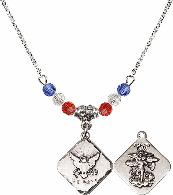 US Navy St Michael Diamond Shaped Beaded Necklace by Bliss Mfg