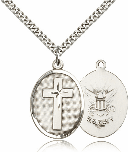 US Navy Sterling Silver Christian Military Cross Necklace by Bliss
