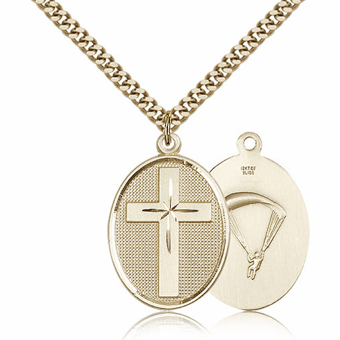 US Paratrooper Christian Cross 14kt Gold-Filled Necklace by Bliss Mfg