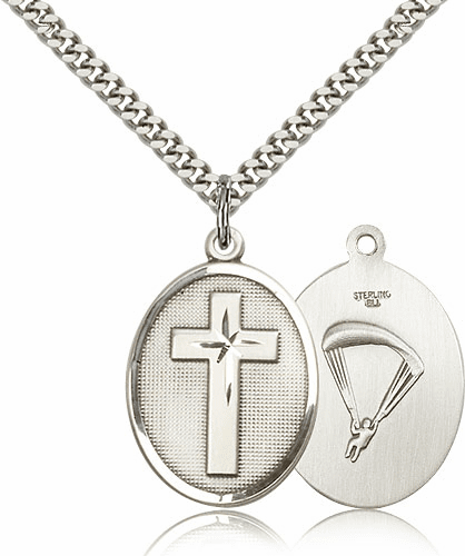 US Paratrooper Sterling Silver Christian Military Cross Necklace by Bliss