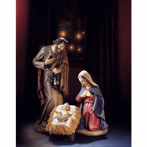 Val Gardena 24 inch 3pc Holy Family Christmas Nativity Set