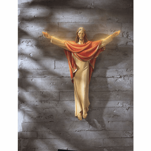 Val Gardena Church Size Risen Christ 24 inch Wall Statue by Avalon Gallery