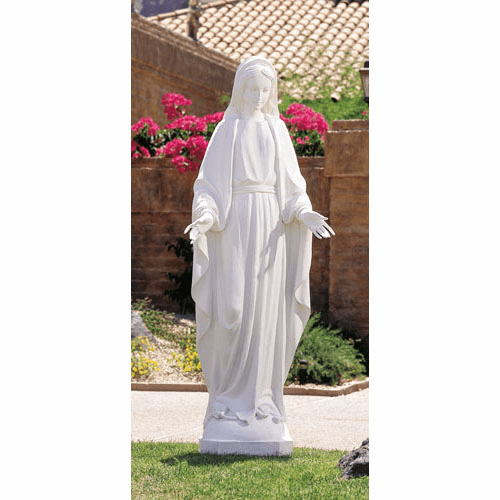 Val Gardena Our Lady of Grace Large White Garden Statue by Avalon Gallery