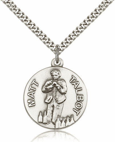 Venerable Matt Talbot Sterling Silver Medal Necklace with Chain by Bliss