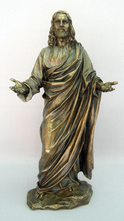 Veronese Bronzed Resin Welcoming Risen Christ Statue