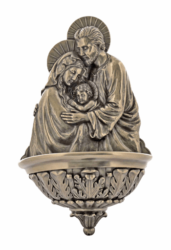 Veronese Cold-Cast Bronze Holy Family Water Font Statue