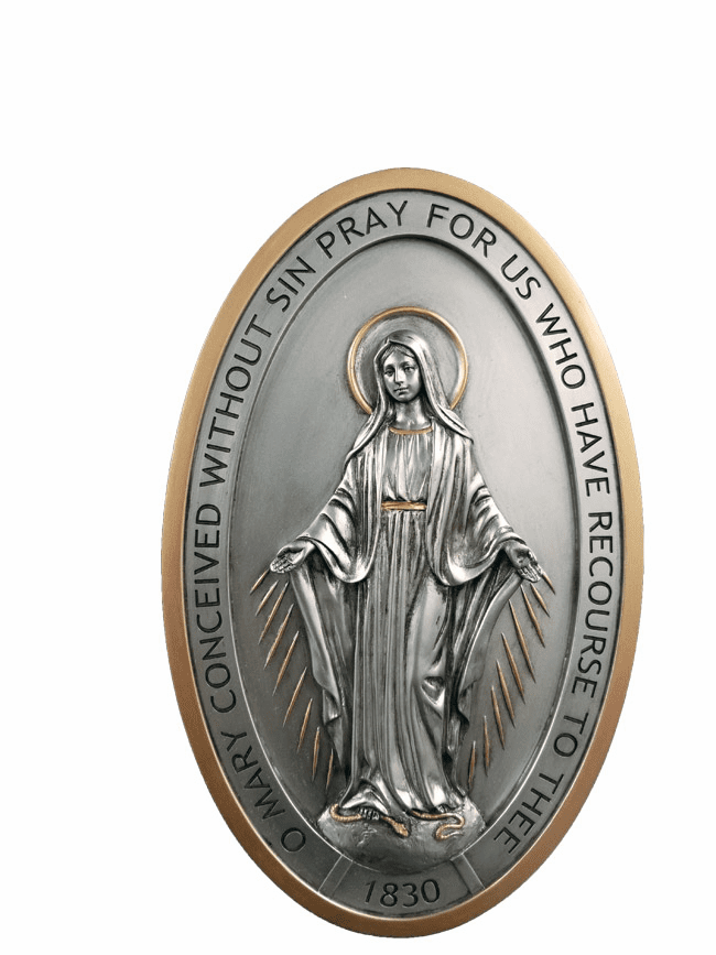 Veronese Collection Catholic Pewter Style Finish Miraculous Medal Wall Plaque