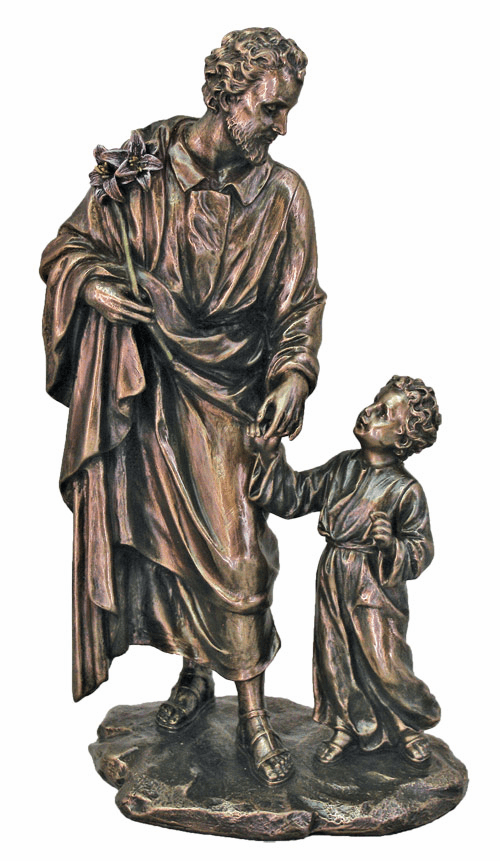 Veronese Collection St Joseph & Child Cold Cast Bronze Statue