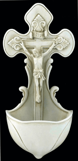 Veronese Crucifixion Antiqued White Resin Holy Water Font