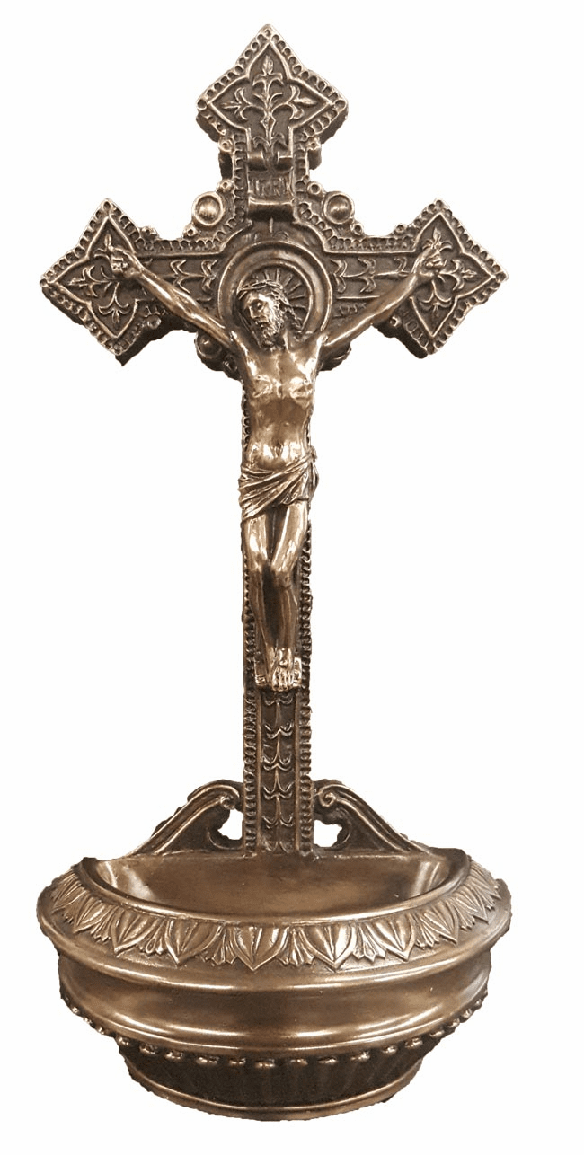 Veronese Crucifixion Cold-Cast Bronze Holy Water Font or Rosary Holder