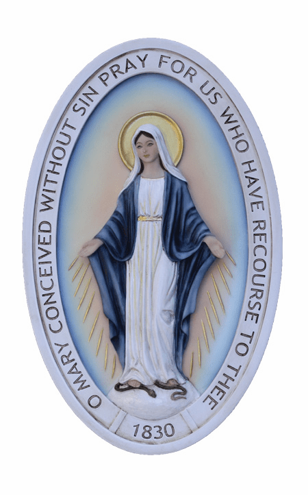 Veronese Double Sided Miraculous Medal Cold Cast Bronze Wall Plaque