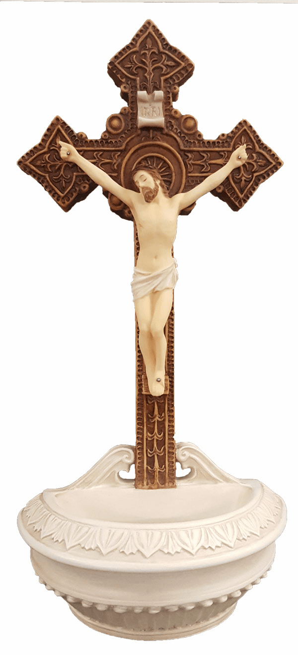 Veronese Hand Painted Crucifixion Holy Water Font or Rosary Holder