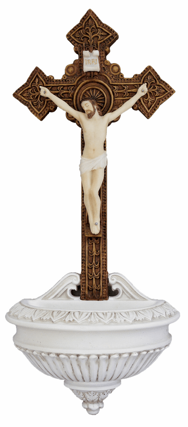 Veronese Hand Painted Crucifixion of Christ Holy Water Font