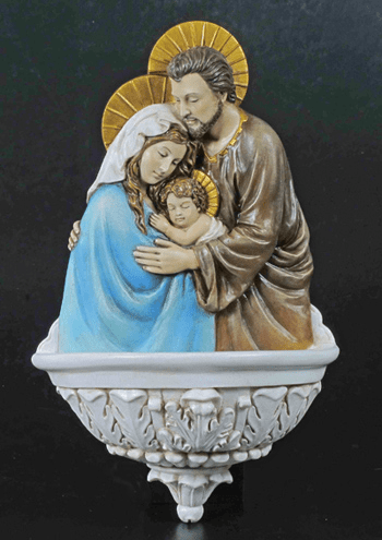 Veronese Hand-Painted Holy Family Water Font Statue
