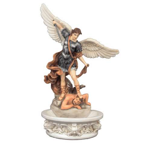 Veronese Hand Painted Saint Michael Holy Water Font or Rosary Holder