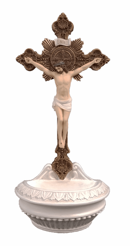 Veronese Hand Painted St Benedict Crucifix Holy Water Font or Rosary Holder
