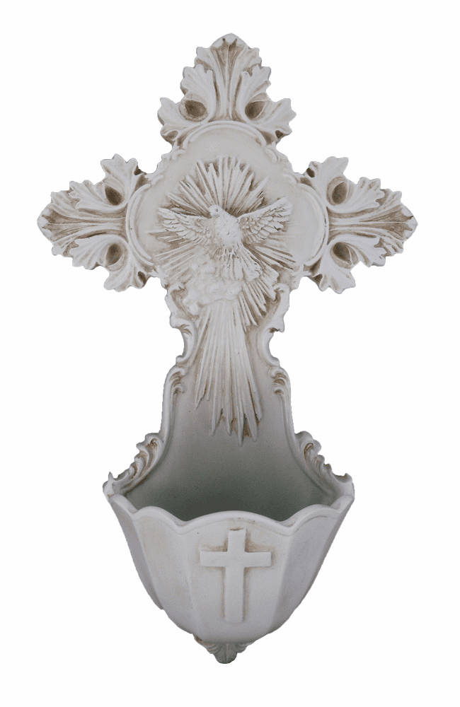 Veronese Holy Spirit Dove Antiqued White Resin Holy Water Font
