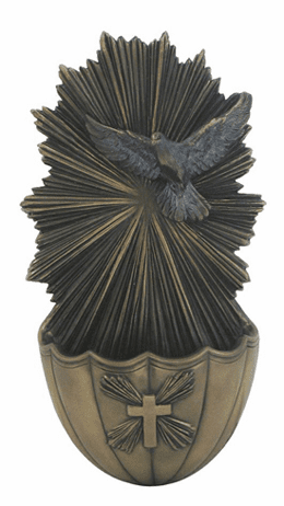 Veronese Holy Spirit Dove Cold-Cast Bronze Holy Water Font