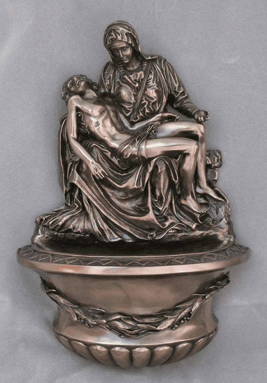 Veronese Mary and Jesus Pieta Cold-Cast Bronze Holy Water Font