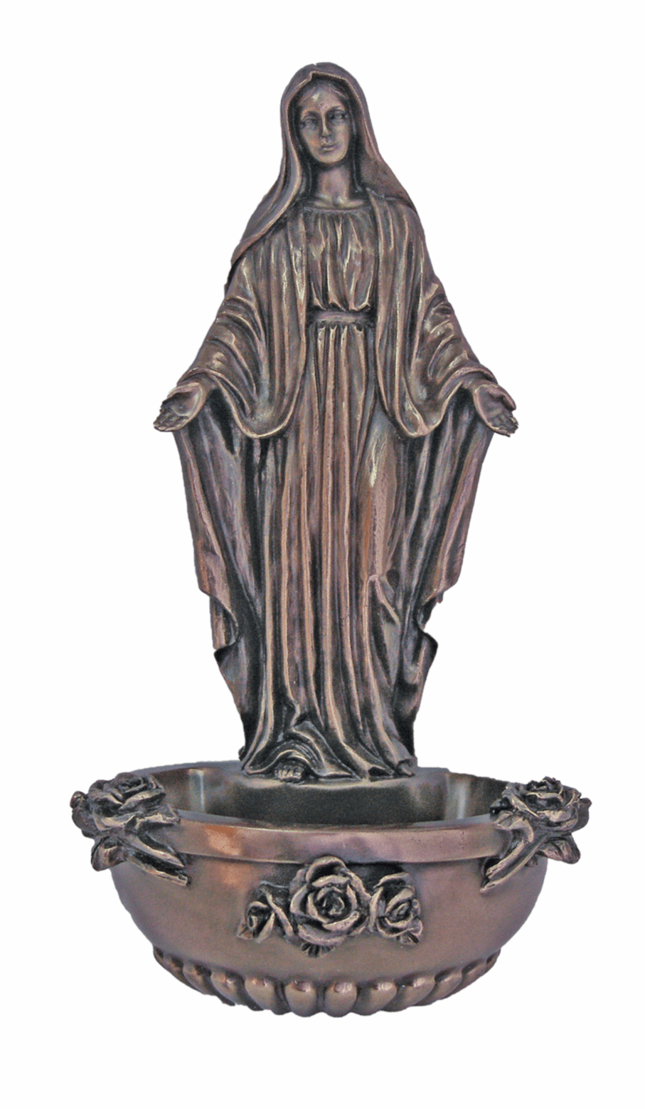 Veronese Our Lady of Grace Cold-Cast Bronze Holy Water Font or Rosary Holder