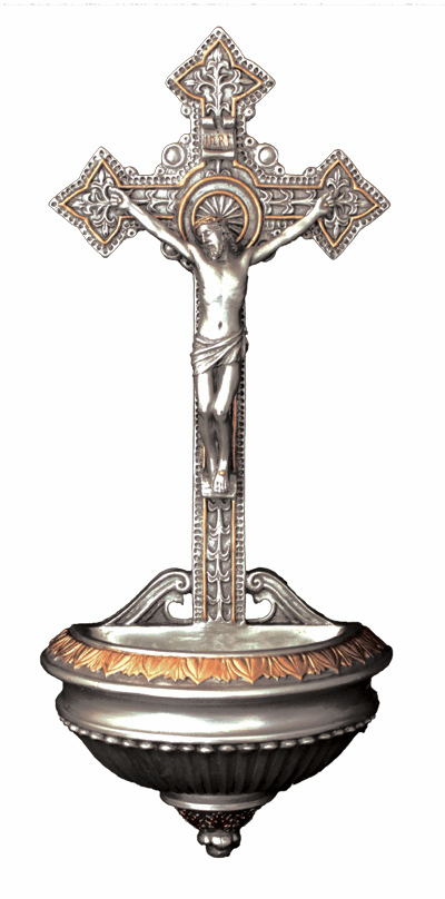 Veronese Pewter Style Crucifixion of Christ Holy Water Font