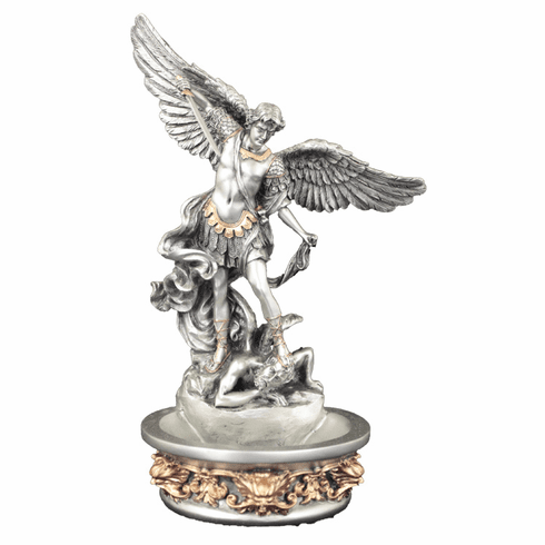 Veronese Pewter Style Saint Michael Holy Water Font or Rosary Holder