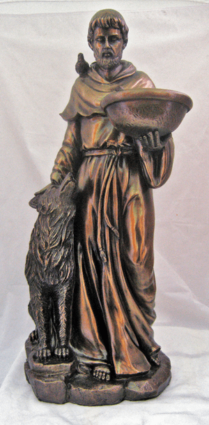 Veronese Saint Francis with a Wolf Cold Cast Bronze Statue