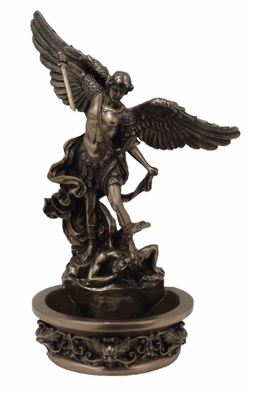 Veronese Saint Michael Cold-Cast Bronze Holy Water Font or Rosary Holder